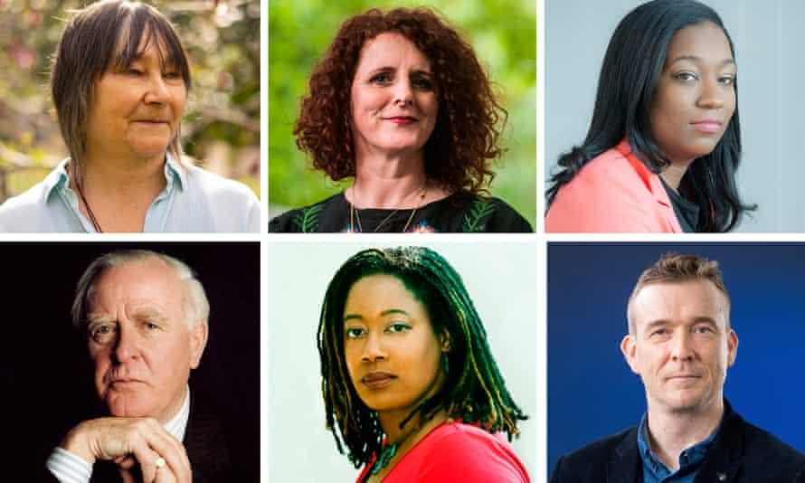 Clockwise: Ali Smith, Maggie O'Farrell, Brit Bennett, David Mitchell, NK Jemisin and John le Carre.