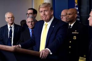 Washington, USDonald Trump speaks to the media alongside members of the coronavirus taskforce