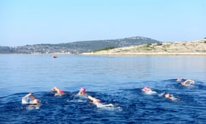 People swimming in the Adriatic sea,
