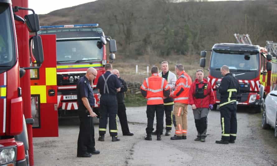 Firefighters at the scene of a moorland fire near Deer Hill Reservoir in Marsden.