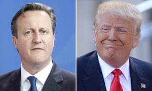 Cameron's premiership ran from May 2010 to June 2016 and did not overlap with Trump's presidency.