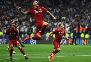 Dejan Lovren of Liverpool and teammates celebrate at full time