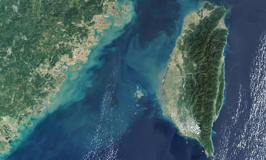 Satellite image of the strait of Taiwan, located between the south-east China and Taiwan