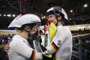 Pauline Sophie Grabosch and Emma Hinze of Germany celebrate after winning women's team sprint