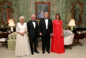 Donald and Melania Trump host a dinner at Winfield House for Prince Charles, Prince of Wales and Camilla, Duchess of Cornwall.