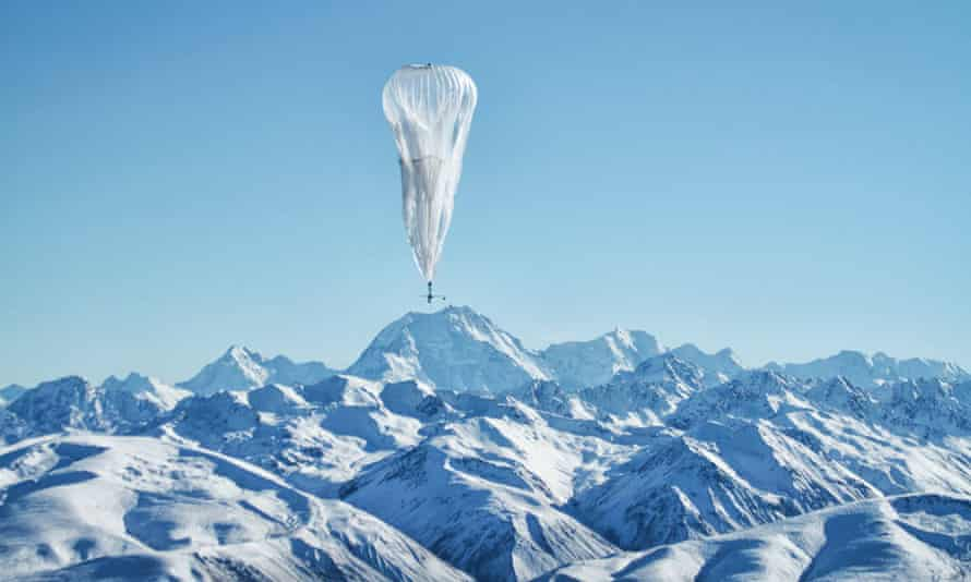 Project Loon balloon floating over New Zealand