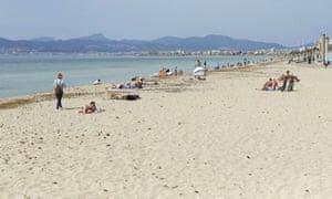 People on Playa de Palma beach in Palma de Mallorca, Spain, last month.