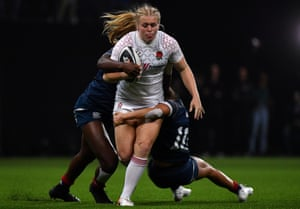 Abi Burton in action for England against USA.