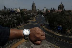 Empty roads outside the Chhatrapati Shivaji Maharaj Terminus in Mumbai, India