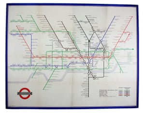 Harry Beck's London Underground station wall map was produced in 1940. It is an updated version of the original tube map and was displayed in stations during the Blitz. Beck introduced several changes to the iconic original, such as a 60 degree angle for the lines, and interlocking rings for interchange stations. A mere 1000 copies were printed, and most of those were destroyed when they were pasted to station walls. Only three are known to exist - including this one. £8,000