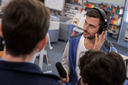 Artist Jonathan Jones records the voices of local Indigenous students in Parkes, NSW