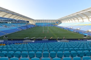 A general view of the stadium is seen with empty seats during the round 2 NRL match between the Gold Coast Titans and the Parramatta Eels at Cbus Super Stadium, the Gold Coast, Australia. March 22, 2020