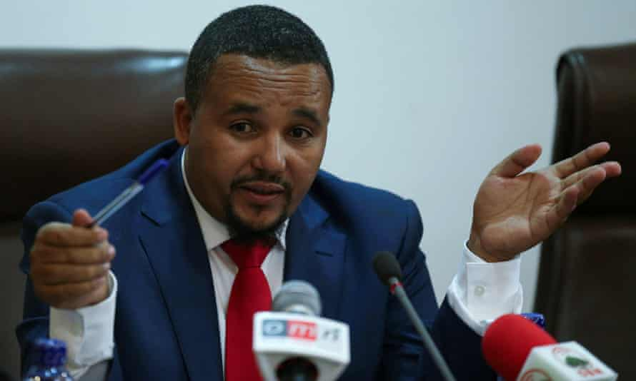 Jawar Mohammed, U.S.-based Oromo activist and leader of the Oromo Protest, addresses a news conference upon arriving in Addis Ababa, Ethiopia August 5, 2018. REUTERS/Tiksa Negeri