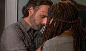 Andrew Lincoln as Rick and Danai Gurira as Michonne.