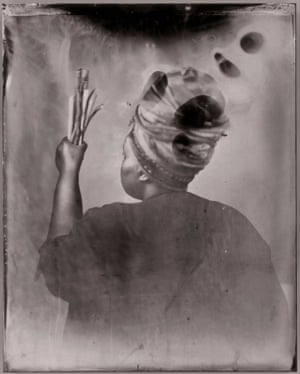 Sothiou, 2017, a self-portrait by Khadija Saye, who died in the Grenfell Tower fire, from her Venice Biennale series Dwelling: In This Space We Breathe, on display at Tate Britain.