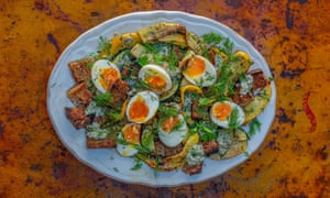 Barbecued courgette and bread salad with dill and chilli flakes, soft boiled eggs, anchovy, garlic and parsley dressing.