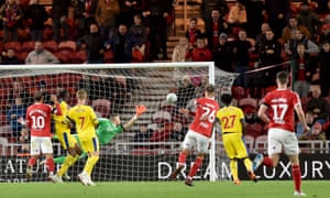 Lewis Wing of Middlesbrough scores a screamer of a goal past Goalkeeper Vicente Guaita of Crystal Palace.