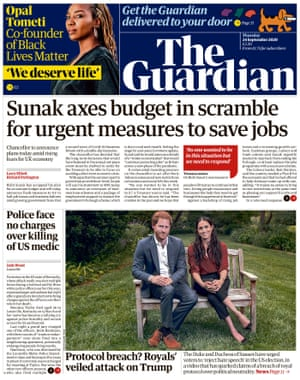 The Guardian front page 24 September 2020.