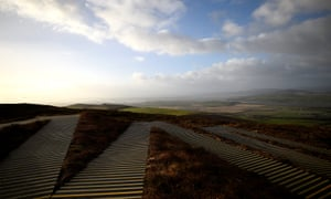 The border between Ireland and Northern Ireland, seen from near the border village of Speenogue, Co Donegal.