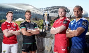 Players from the four Pro12 semifinal teams are pictured at the Aviva Stadium in Dublin earlier this month.