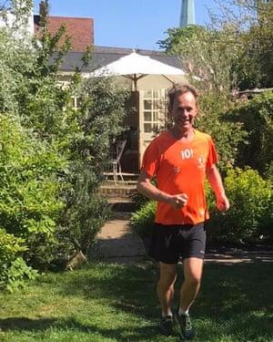 Martin Love runs the marathon in his garden