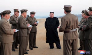 North Korean leader Kim Jong-un attends the testing of a newly developed weapon