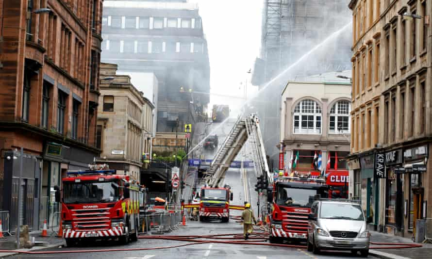 Firefighters tackling the blaze on Saturday morning