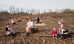 The group Polish Mothers on Tree Stumps protesting about the felling of trees around Kraków.