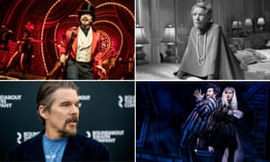 Broadway 2019, clockwise, from top left: Moulin Rouge! The Musical!; Glenda Jackson seen in Three Tall Women, who will play King Lear; Beetlejuice the Musical; Ethan Hawke, who will star in True West.