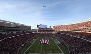 F-35 military planes fly over during the playing of the national anthem before the game between the Oakland Raiders and the San Francisco 49ers at Levi's Stadium on Thursday.