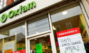 An Oxfam shop displays a poster for the charity's Haiti earthquake appeal
