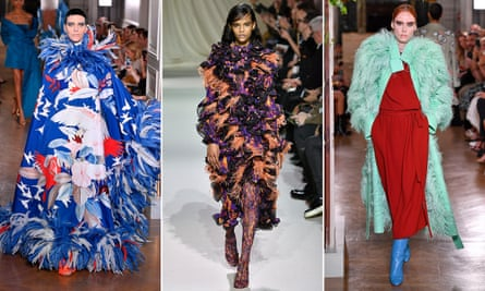 Models at the Valentino AW19 couture show during Paris Fashion Week (far left and right), and the Mary Katrantzou show at London Fashion Week (centre).