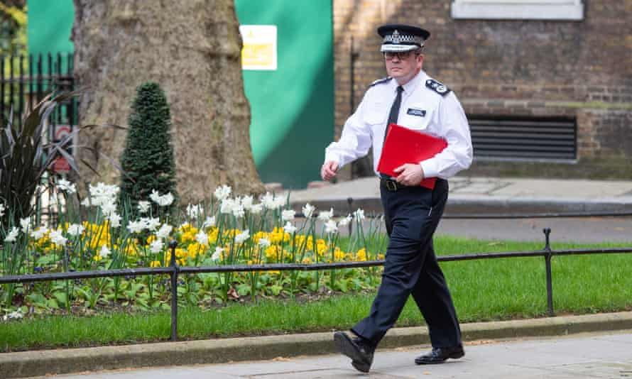 Chair of the National Police Chief's Council Martin Hewitt in Downing Street in April 2020.