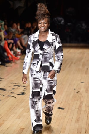 Nicola Adams strutting on the catwalk during London Fashion Week at the Vin &Omi Spring/ Summer 2017 show