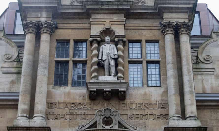The statue of Cecil Rhodes on the front of Oriel college in Oxford.
