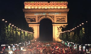 Thousands gather on the Champs Élysées to celebrate France becoming world champions for a first time.