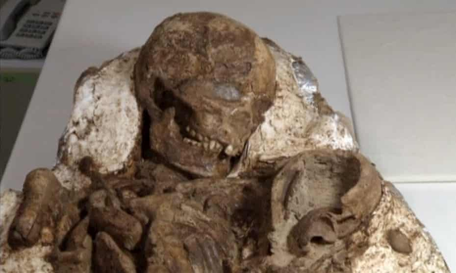 A view of a fossil of a mother and baby in Taichung City.
