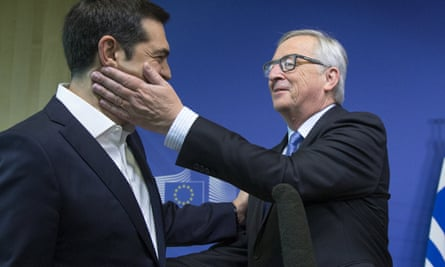 Alexis Tsipras is welcomed by Jean-Claude Juncker