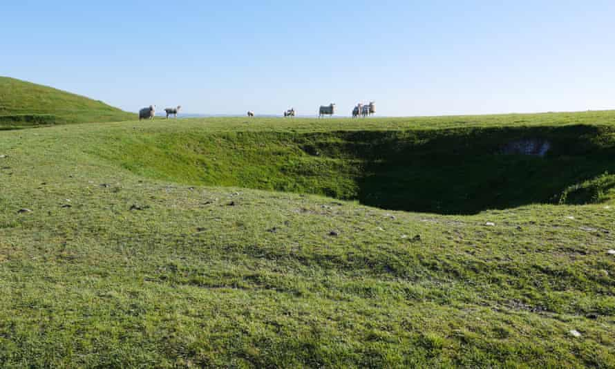 Sheep stand on the edge of one of the Bronkham Hill dolines in the lee of a bronze age barrow