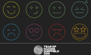 The happiness clock's emoji-style mood readouts.