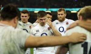 England captain Owen Farrell addresses his side after the defeat to Wales