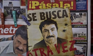 A poster with the face of Mexican drug lord Joaquín 'El Chapo' Guzmán, reading 'Wanted, Again', is displayed at a newsstand in one Mexico City's major bus terminals in July.