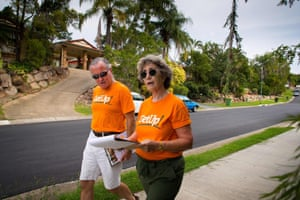 GetUp volunteers Mary Denver (right) and Stuart O'Brian go door to door in the seat of Dickson in Brisbane with the hopes of ousting Peter Dutton.