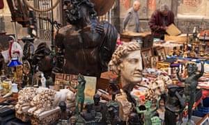 A bric-a-brac stall in central Naples.
