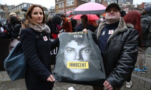 Michael Jackson fans protest outside the headquarters of Channel 4 in London