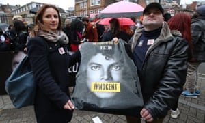 Michael Jackson fans protest against Channel 4's screening of the documentary Leaving Neverland.