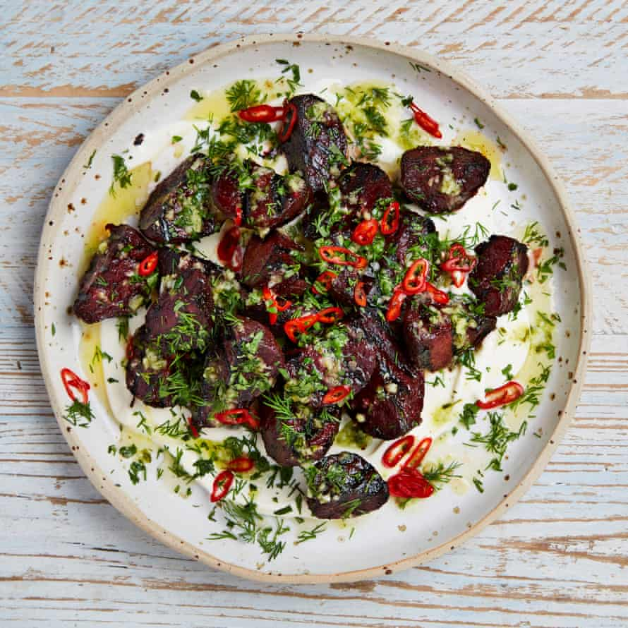 Charred beetroots with kaffir lime salsa and pickled chillies