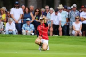 Charley Hull lines up her putt on the 12th.