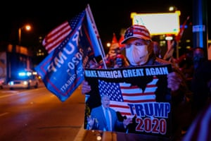 Supporters of US President Donald Trump rally in front of cuban restaurant Versailles in Miami, Florida on November 3, 2020.