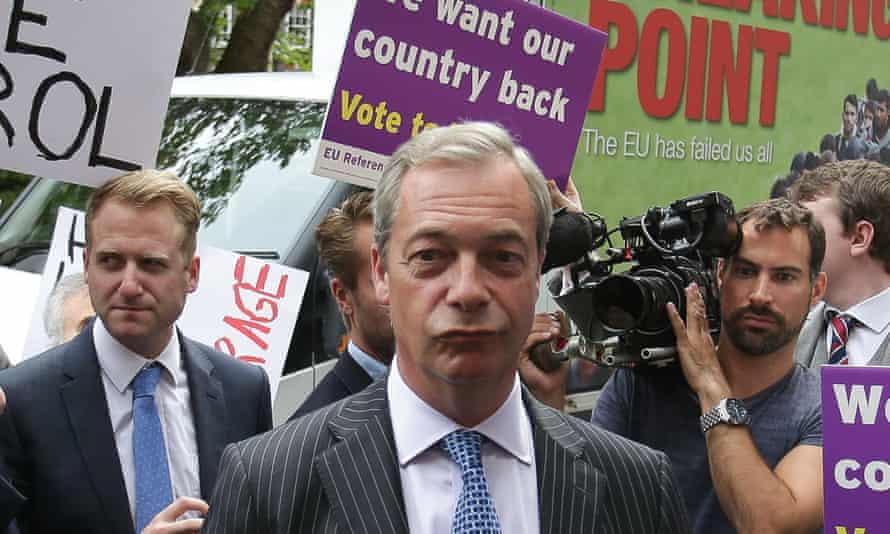 Ukip's Nigel Farage at his launch of the Breaking Point poster, which remain campaigners likened to Nazi propaganda.